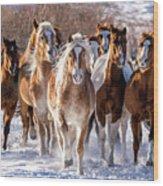 Horse Herd In Snow Wood Print