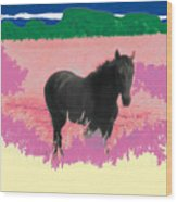 Horse In A Dreamfield 7 Wood Print