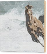 Horse In The Storm - Parallel Hatching Wood Print