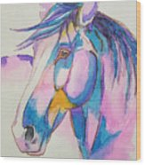Horse In Pink  Wood Print