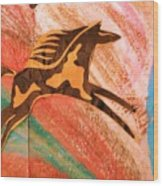 Horse Jumping Over Colors Wood Print