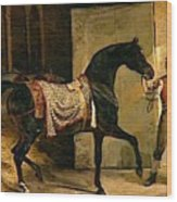 Horse Leaving A Stable Wood Print