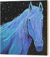 Horse-midnight Snow Wood Print