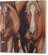 Horse Oil Painting Wood Print