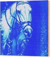 Horse Painting Jumper No Faults Aquamarine Wood Print