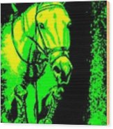 Horse Painting Jumper No Faults Green And Yellow Wood Print