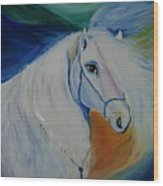 Horse Painting- Knight In Dream Wood Print