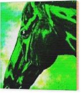 horse portrait PRINCETON green and black Wood Print