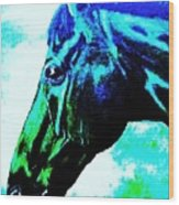 horse portrait PRINCETON really blue Wood Print