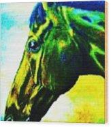 horse portrait PRINCETON vibrant yellow and blue Wood Print