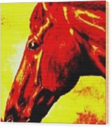 horse portrait PRINCETON yellow and red Wood Print