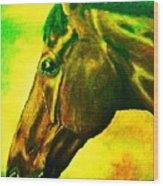 horse portrait PRINCETON yellow green Wood Print