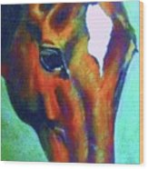 horse portrait RED psychedelic Wood Print