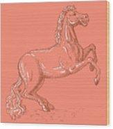 Horse Prancing Wood Print
