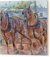 Horse Pull At The Fair Wood Print