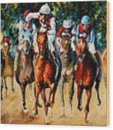 Horse Race Wood Print