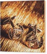 Horse Racing Cuff Links Wood Print