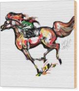 Horse Racing In Fast Colors Wood Print