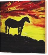 Horse Rider In The Sunset Wood Print