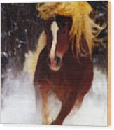 Horse Running In Snow Wood Print