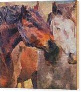 Horse Snuggle Wood Print