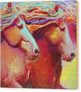 Horse Stampede Painting Wood Print