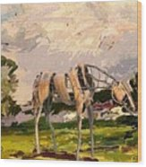 Horse Statue In The Field Wood Print