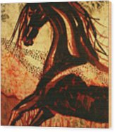 Horse Through Web Of Fire Wood Print
