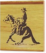 Horse With Rider Wood Print by Russell Ellingsworth