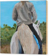 Horseback Ridding Wood Print