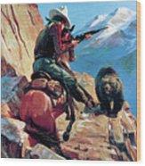 Horseman And Bear Wood Print