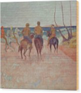 Horseman On The Beach Wood Print