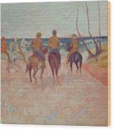 Horseman On The Beach Wood Print by Paul Gauguin