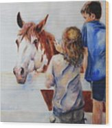 Horses And Children Painting Wood Print