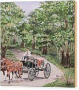 Horses And Wagon Wood Print