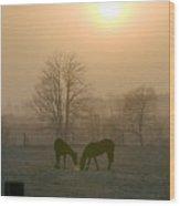 Horses At Sunrise-1 Wood Print