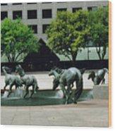Horses At William Square  Wood Print