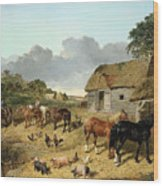 Horses Drinking From A Water Trough, With Pigs And Chickens In A Farmyard Wood Print