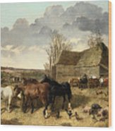 Horses Eating From A Manger, With Pigs And Chickens In A Farmyard Wood Print