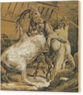 Horses Fighting In A Stable Wood Print