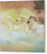 Horses In A Pearly Mist Wood Print