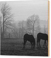 Horses In Field B And W Wood Print