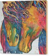 Horses In Love Wood Print