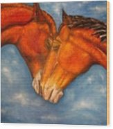Horses In Love.oil Painting Wood Print