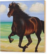 Horses In Paradise  Run Wood Print