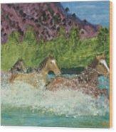 Horses In Stream Wood Print