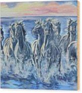 Horses Of The Sea Wood Print