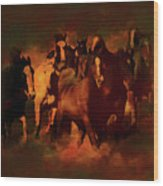 Horses Paintings 34b Wood Print