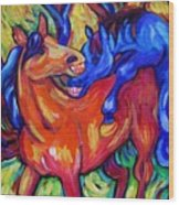 Horses Playing Wood Print