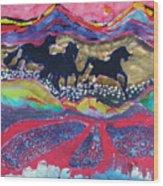 Horses Running Thru A Stream Wood Print by Carol  Law Conklin
